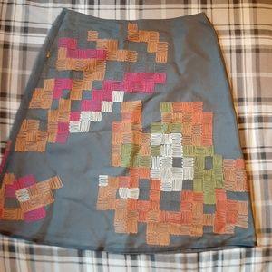 Sigrid Olsen Embroidered Silk Skirt